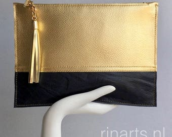 Leather Clutch / leather zipper pouch in gold and black leather. Bicolor clutch. Color block bag