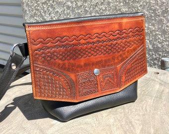 Tooled Crossbody bag #1 - leather purse - womens leather bag - leather crossbody - handmade leather - womens purse - tooled purse - usa
