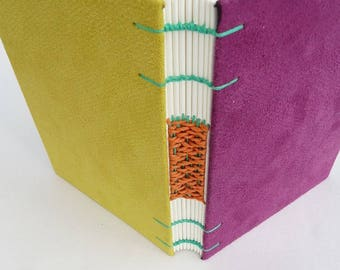 Purple, magenta, yellow, journal, Coptic, woven spine, notebook, faux suede
