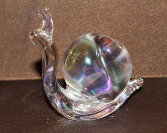 Vintage Iridescent Glass Snail