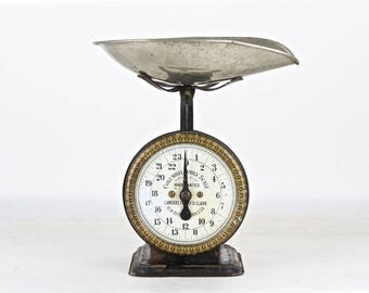 Vintage Kitchen Scale, With Pan, Antique Scale, Black Scale, Rustic Kitchen Scale, Vintage Scale, Rusty Old Scale, Farmhouse Decor Old Scale