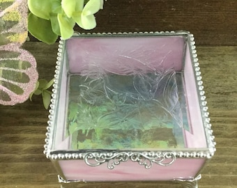 Pink and White Marbled Stained Glass Keepsake Box, 3 x 3""