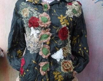 20%OFF bohemian jacket, woodland jacket, wildskin, boho coat, wind breaker, tattered jacket, bohemian, hippy coat, stevie nicks, embroidered