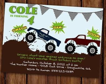 Monster Truck Birthday Invitation - Dirt, Mud and Trucks - Custom Monster Truck Party Invite - Printable or Printed Invitations