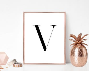 SALE -50% Letter V Monogram Alphabet Name Digital Print Instant Art INSTANT DOWNLOAD Printable Wall Decor