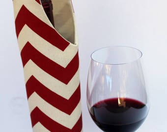 Red & White Chevron Wine Bag Gift Tote Bag Handmade in USA