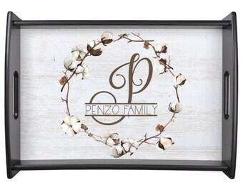 Cotton Rustic Serving Tray  Monogram Wooden Tray w Custom Rustic Design  Breakfast Tray Wedding Gift - Hostess Gift