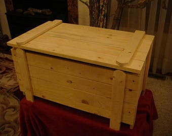 custom listing for two Unfinished pine Toy Box / Chest with monogram letter