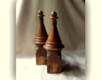 Antique French Maple Wood Finials - Architectural Salvage- Found Objects -GentlemanlyPursuits