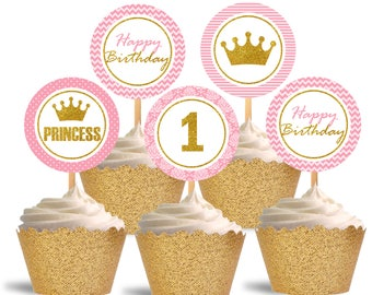 1st Birthday Cupcake Toppers, Princess Printable Cupcake Toppers, Pink and Glitter Gold - Instant Download - DP489