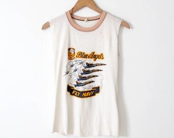 vintage Blue Angels tank top, US Navy muscle tee