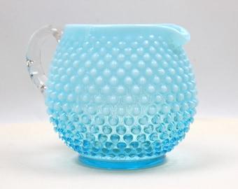 Blue Hobnail Jug Pitcher - Vintage Fenton Pitcher, Fenton Art Glass, Water Pitcher, Squat Jug Pitcher, Blue Glassware, c1940s