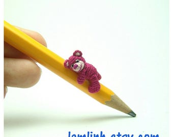 micro crochet miniature - 0.8 inch dark pink crochet teddy bear - micro amigurumi animal for dollhouse decor