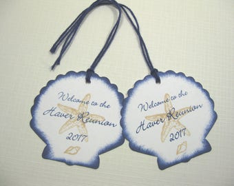 10 Personalized Seashell Starfish Seashore Thank You - Welcome Tags - Tropical Wedding - Destination Wedding - Beach Wedding - Navy Blue
