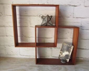 Vintage Geometric Display Shelf Mid Century Modern Wood Shelf
