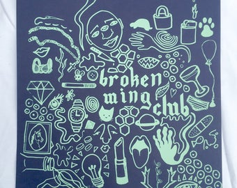 Broken Wing Club / Screen Print by Sam Pletcher / Mint and Navy Blue Silkscreen
