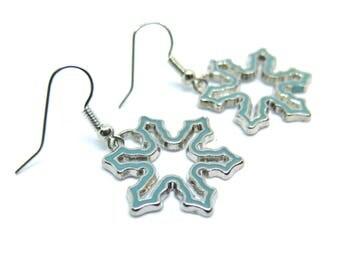 Blue Snowflake Dangle Earrings