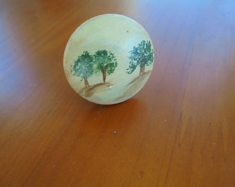 HAND PAINTED wooden Knob featuring Three Trees on Tan background