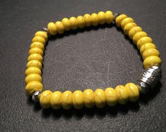Men's Yellow Howlite Bracelet