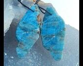 New,Nugget AAA Blue Apatite Gemstone Earring Bead, 40x18x3mm,9.2g