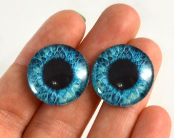 20mm Bright Blue Glass Eyes Pair of Cabochons - Round Fantasy Eyes for Doll or Jewelry Making - Set of 2