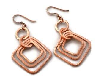 Layered Copper Diamonds . Earrings