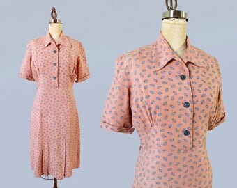 1930s Dress / Late 30s - Early 40s Day Dress / Pink Cotton Dress / Paisley Pattern