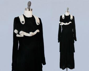 1930s Dress / 30s Black Silk Velvet and Faux Ermine Trim Winter Dream