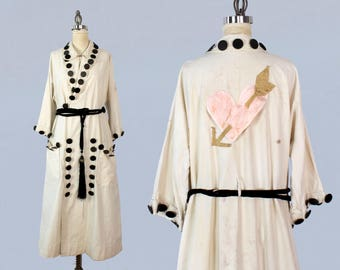 RESERVED Antique Costume Jacket / 1920s PIERCED HEART Applique Theater Stage Jacket / Cotton Duster