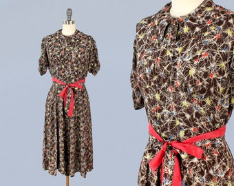 1930s Dress / Late 30s Early 1940s Day Dress / 1930s Atomic Print!!