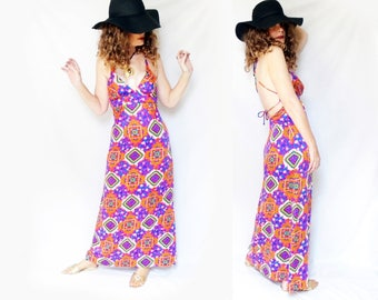 Summer Gypsy Maxi Psy Festival Dress is an Open Back Maxi Sundress, Bohemian Beach Dress, Plunging Neckline, 70s Neon Psychedelic Print
