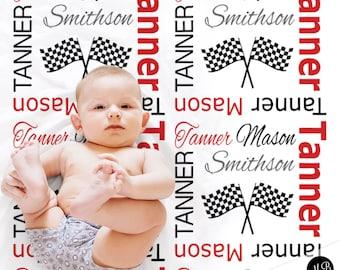 Racing flag baby blanket, drag racing baby blanket, racing baby gift, dragster baby blanket, racing name blanket, street racing baby blanket