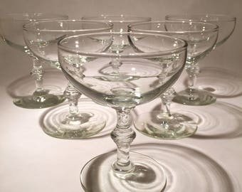 6 Vintage Champagne Coupes