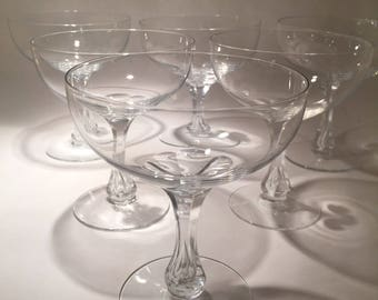 6 Vintage Crystal Champagne Coupes
