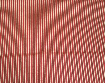 Red Stripe Holiday fabric by the 1/2 yard