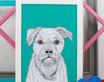 ON SALE Border Terrier Dog Portrait Print