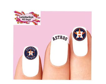 Waterslide Nail Decals Set of 20 -  Houston Astros Baseball Assorted