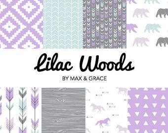 gray and purple crib bedding baby girl bedding woodland nursery