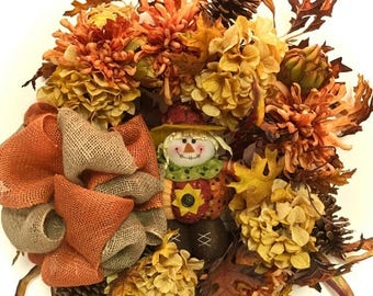 "CHRISTMAS IN JULY Scarecrow Wreath Fall Halloween Wreath Silk Floral Grapevine Rust Gold Orange Brown Approx. 24"" In/ Outdoor Burlap Bow"