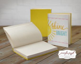 Shine Bright 5x7 Hardback Bound Journal -Inspirational, Word Art -Yellow, White