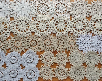 36 White, Beige, Ecru, Eggshell, and Cream Colored Vintage Crochet Doily Medallions, 2 to 4 inch size Small Doilies