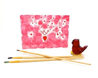 Stenciled Red Love Watercolor Art Card, Original Art Greeting Card, Unique Wall Art, Tabletop Art, Wedding,Anniversary, Engagement Card