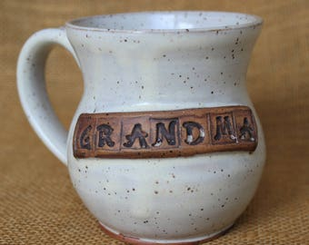 Grandma pottery mug, gift for grandma, Stoneware wheel thrown