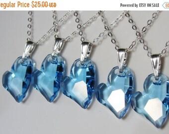 Swarovski Crystal Blue Heart Sterling Silver Necklace