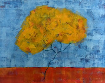 Landscape Painting ... Yellow Tree ... Contemporary Wall Art ... 18 x 24 Horizontal Art on Paper