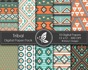 40% off Tribal Paper Pack - 10 Digital papers - 12 x12 - 300 DPI
