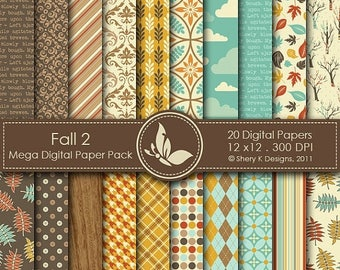 40% off Fall 2 Paper Pack - 20 Printable Digital papers - 12 x12 - 300 DPI