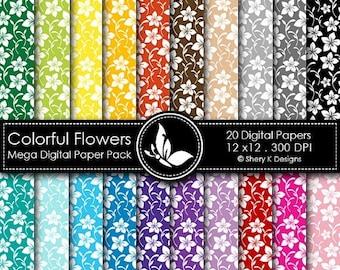 40% off Colorful Flowers Mega Paper Pack - 20 Printable Digital papers - 12 x12 - 300 DPI