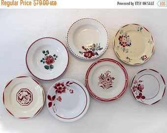 Set of 7 antique French plates flowers stencils, red collection , set for wall decor, decoratives plates french country style kitchen decor