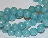 Half Strand 8mm Blue Agate Gemstone Beads - 24 beads  BA-1